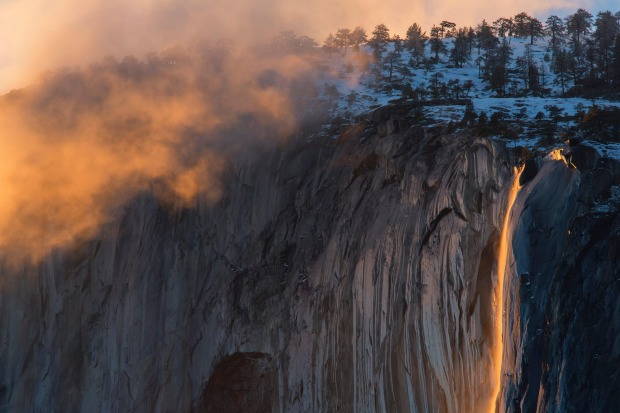 Sunlight createst a 'firefall': Horsetail Fall in Yosemite National Park.