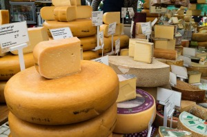 Huge variety of cheese for sale in the market in Amsterdam, Holland.