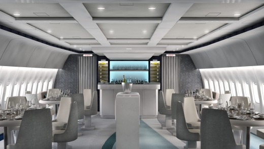 The plane's dining room and bar.