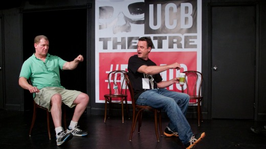 Matt Besser and Ian Roberts perform at New York's The Upright Citizens Brigade Theatre.
