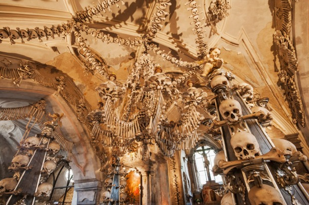 "BONE CHURCH, CZECH REPUBLIC. There are more than 40,000 human skeletons in Sedlec Ossuary, or the ""Bone Church"", in ..."
