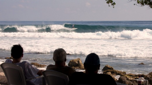 The gallery, watching the surfing at Pasta Point, Cinnamon Donvelhi Island Resort.