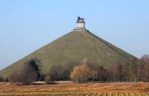 "The ""Butte du Lion"" (The Lion's Mound) commemorating the Battle at Waterloo, Walloon Brabant, Belgium."