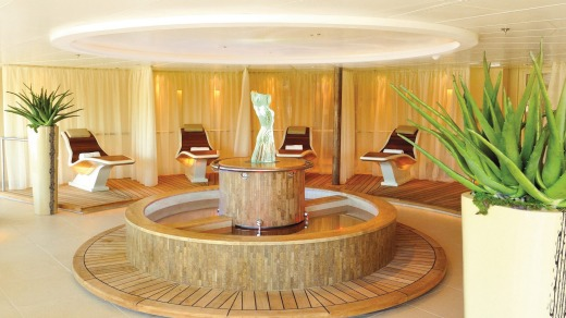Heated stone loungers on the Seabourn.