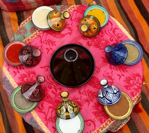 Colourful spices are the heart of Moroccan cuisine.
