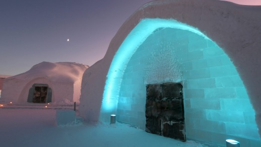 Entrance to Icehotel Sweden.