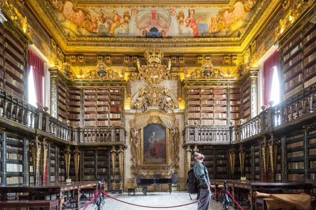 The Joanina Library, Coimbra, Portugal: High on a hilltop campus, the Coimbra University is Portugal's most prestigious, ...