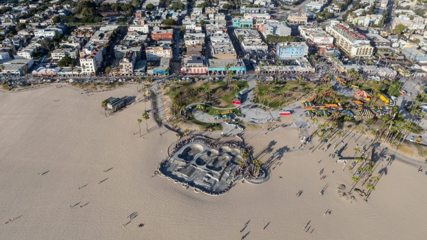 LA in a nutshell: Venice Beach from the air. Hotel Erwin is at the top right.