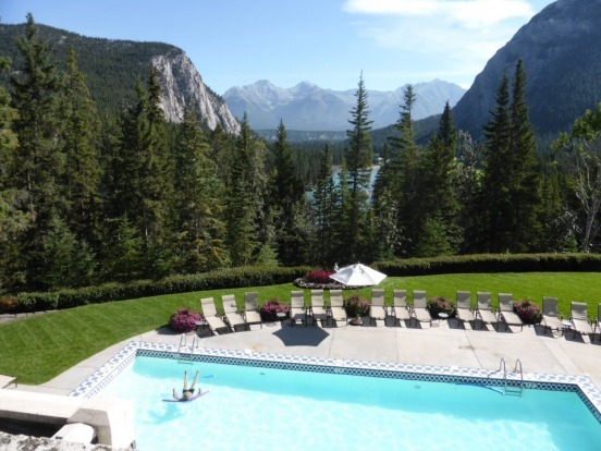 Stress floats away in the amazing setting at the Banff Springs Hotel, Canadian Rockies.