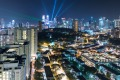 View of city skyline and light-show over the estate of Tiong Bahru.