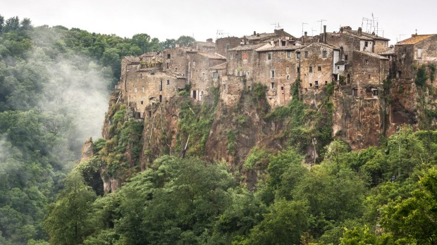Calcata sits perched on a clifftop.