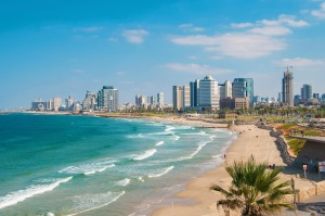 Views of the waterfront and beaches of Tel Aviv.