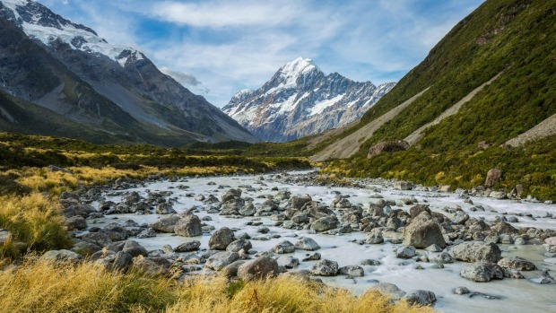 River and mountain landscape in Mount Cook National Park.