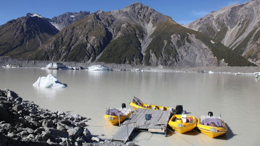 Tasman Lake is at the terminal of Tasman Glacier. The lake is one of the few in the world where tourists can cruise up ...