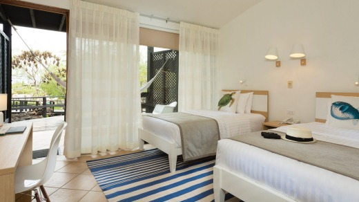 The rooms have a beachy feel.