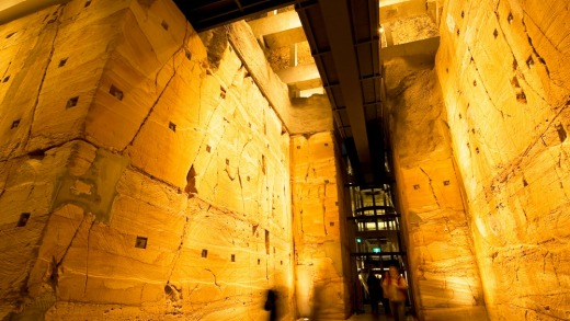 The lowest level of the Museum of Old and New Art includes a 240-million-year-old, 12-metre-high sandstone wall, a full ...
