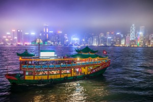 Star Ferry, Hong Kong Harbour, at night.