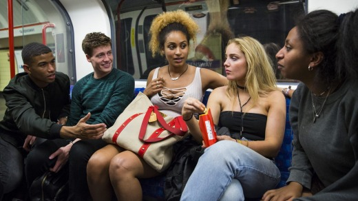 Night Tube passengers on the Central line.