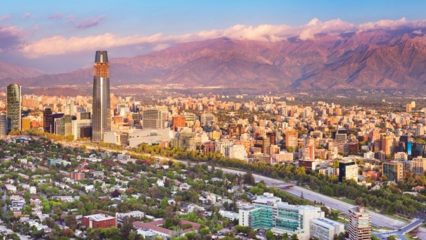 The skyline of Santiago in Chile.