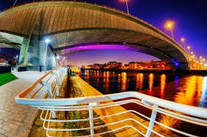 View from below the Kingston Bridge carrying the M8 motorway over the River Clyde in Glasgow, Scotland.