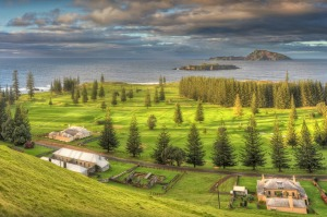 Beautiful and dramatic dawn light sweeps over the Kingston Gold course on Norfolk island.