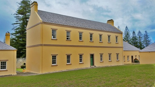 Norfolk Island historical military barracks, 1830's British architecture, now used as the chambers of the Legislative ...