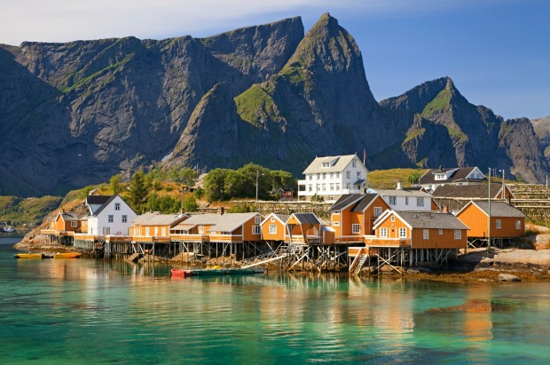 Rorbuer huts on Lofoten islands, Norway.
