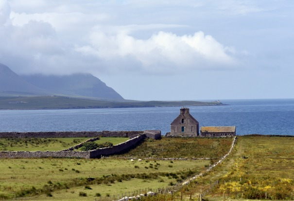 Farmland on Orkney Islands, Scotland.