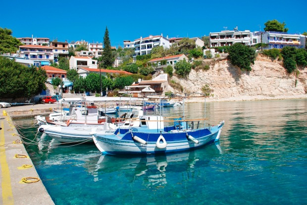 Small boats moored in the harbour on the Greek island of Alonissos.