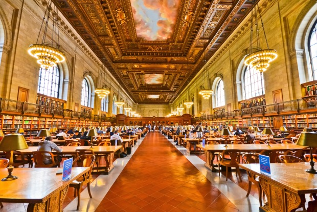 View of the study room of the New York Public Library.
