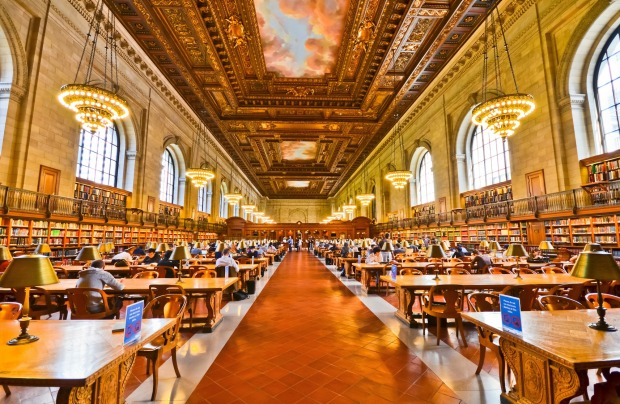 The study room of the New York Public Library.