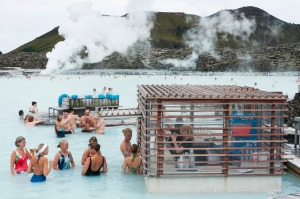 Tourists enjoy a drink at a pool bar in Iceland's Blue Lagoon.