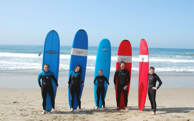 Surf lessons at Huntington Beach.