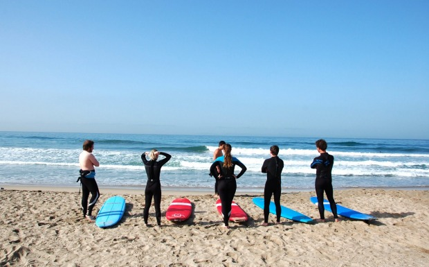 Surf lessons, Huntington Beach.