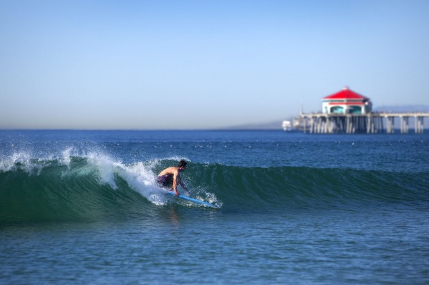 Surfer at Huntington Beach.