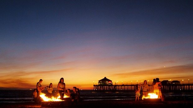 Bonfires and s'mores, Huntington Beach.