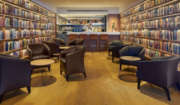 The library at The Ambassade Hotel in Amsterdam.