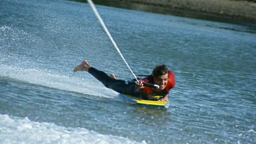 Get your thrills on the boogie slide with Walking on Water Watersports, Ulladulla.