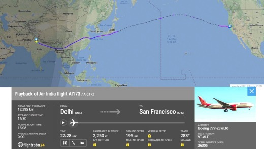 World's longest flight: Air India's Delhi to San Francisco route.