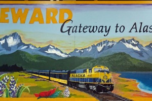A sign in the train station at Seward.