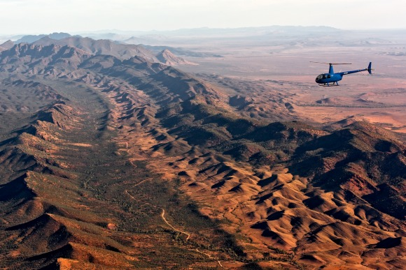 Helicopter safari at Arkaba Station.