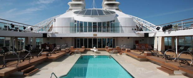 Catch some rays on the Seabourn Odyssey pool deck.