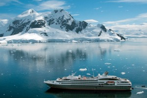 Expedition-style cruising: Ponant's Le Boreal meanders through Antarctic waters.