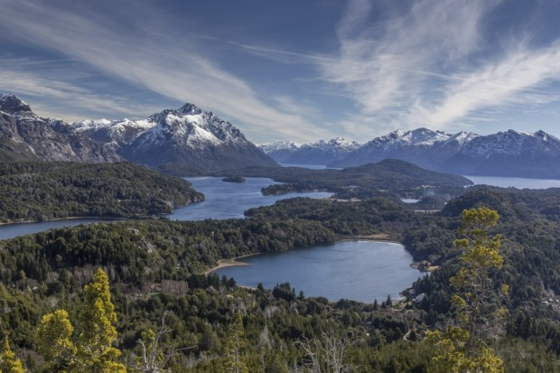 Spectacular views of the surrounding lakes from the top of Cerro Campanario, Bariloche, Argentina.