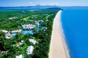 Four Mile Beach and aerial view of resort Sheraton Mirage Resort Port Douglas.