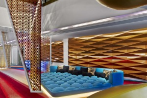The lounge sofa at W Dubai Al Habtoor City.