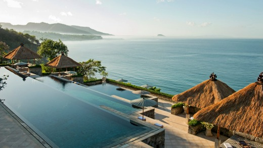 The three-tiered main pool overlooking the Lombok Strait at Amankila.