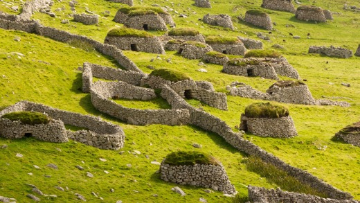 Ancient wall structures and shelters on St Kilda.