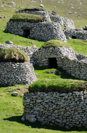 Stone storage huts on Hirta.