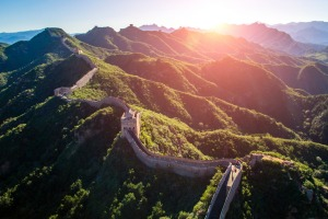 The Great Wall of China stretches for thousands of kilometres through northern China.